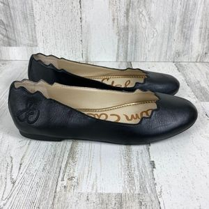 SAM EDELMAN Black Leather Flats